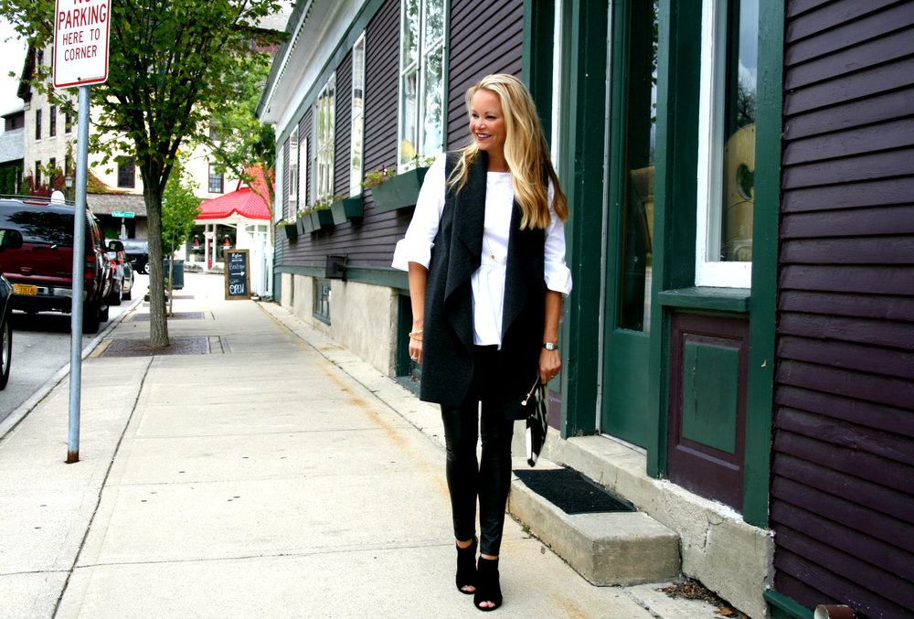 White Peplum Top, Grey Duster and Black Vegan Leather Leggings
