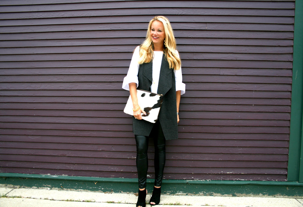 White Peplum Top, Grey Duster and Black Vegan Leather Leggings and Cow Hide Clutch