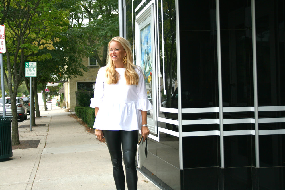 White Peplum Top with Black Vegan Leather Leggings